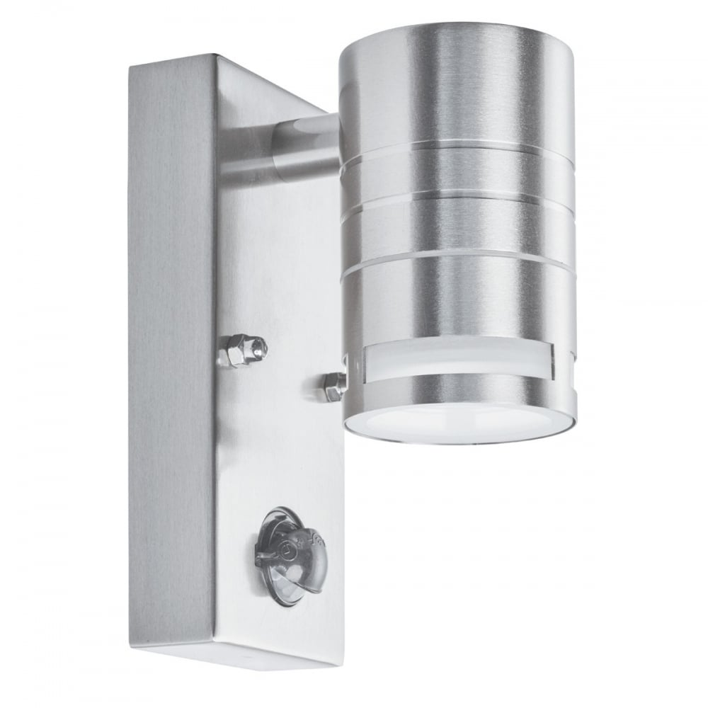 Wall Light Pir Sensor : Cylinder Exterior Downlight in Stainless Steel with PIR Motion Sensor