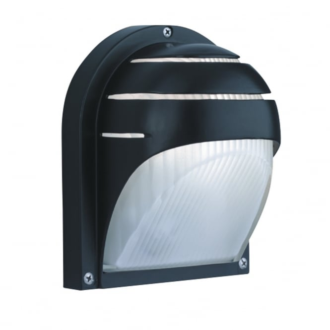 OUTDOOR half moon wall light in black with ribbed opal glass