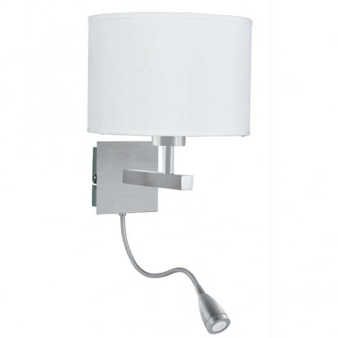 Lighting Catalogue PEACE satin silver bedroom wall light with LED reading  light. Hotel Style Bedroom Wall Light with Adjustable LED Arm in Satin Silver