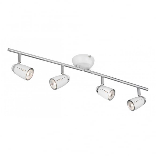 Lighting Catalogue PLUTO white spotlight bar with 4 adjustable spots