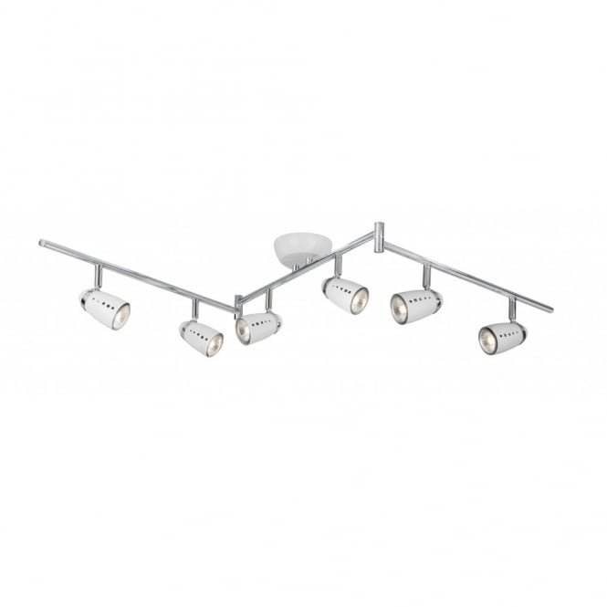 Lighting Catalogue PLUTO white spotlight bar with 6 spots