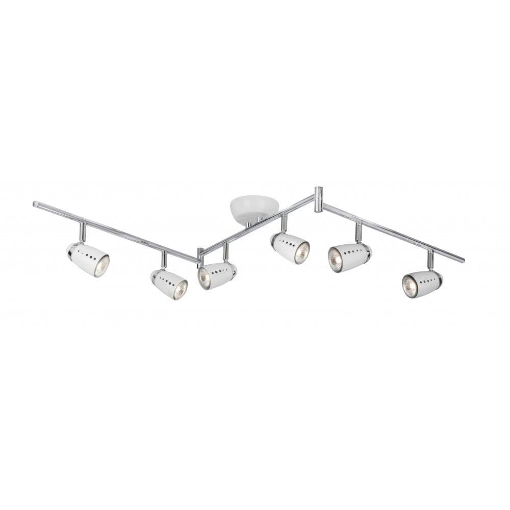 White kitchen spotlight bar adjustable with 6 moveable spotlights - Kitchen bar spotlights ...