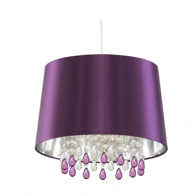 Lighting Catalogue PURPLE faux silk ceiling pendant with decorative acrylic droplets