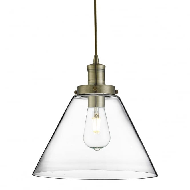 PYRAMID antique brass ceiling pendant with clear tapered glass shade
