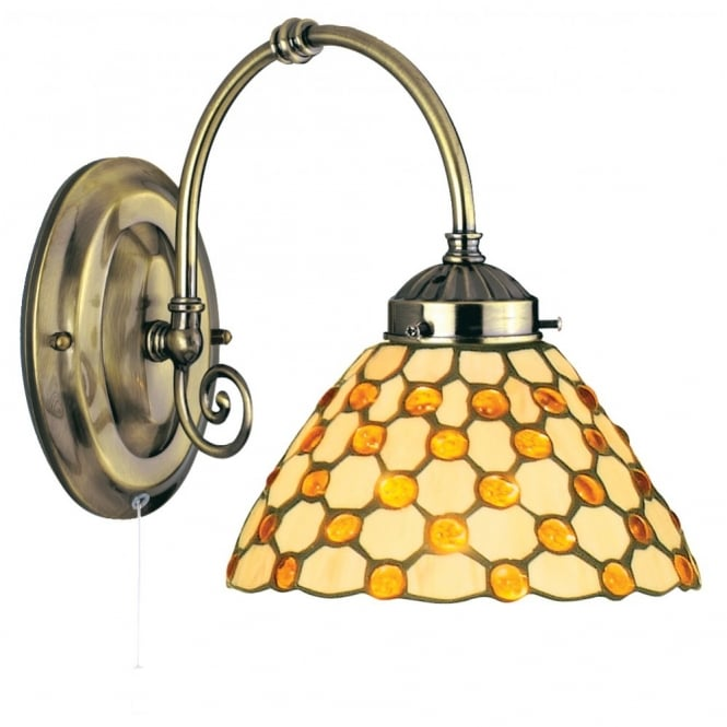 Lighting Catalogue RAINDROP Tiffany wall light with amber beads