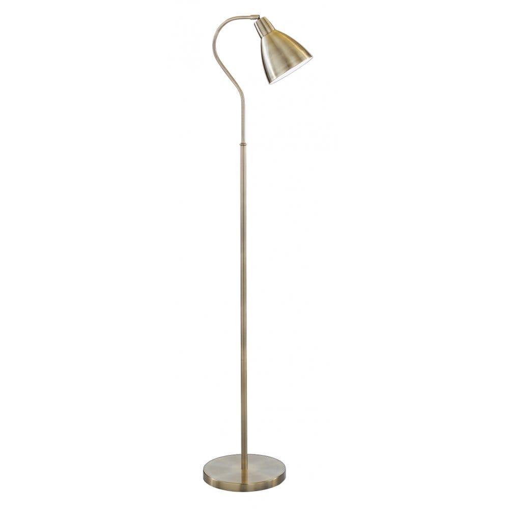 Floor standing lamp in antique brass with adjustable head for Floor lamps reading lights
