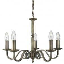 traditional 5 light antique brass ceiling pendant