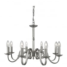 traditional 8 light satin silver ceiling pendant