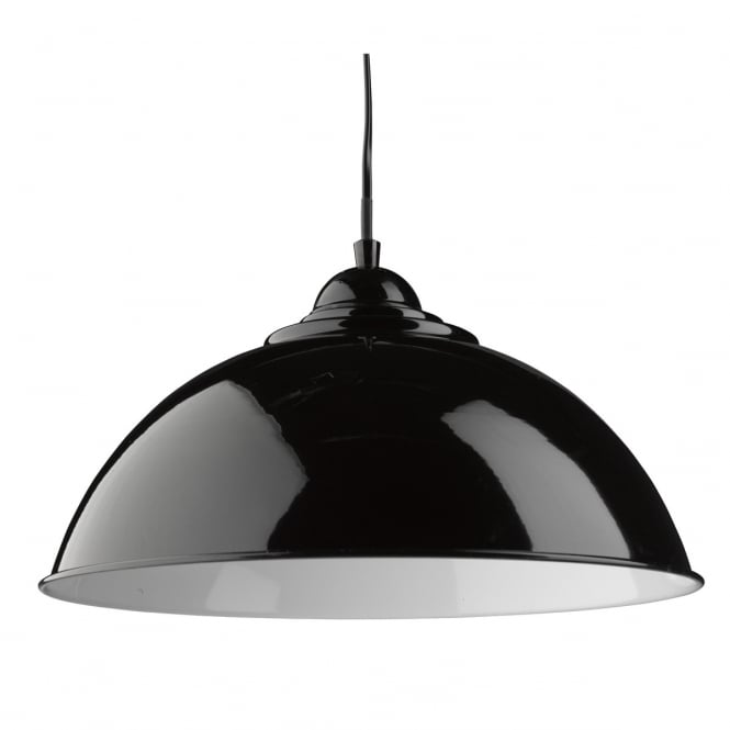 Lighting Catalogue SANFORD single black dome pendant with white inner
