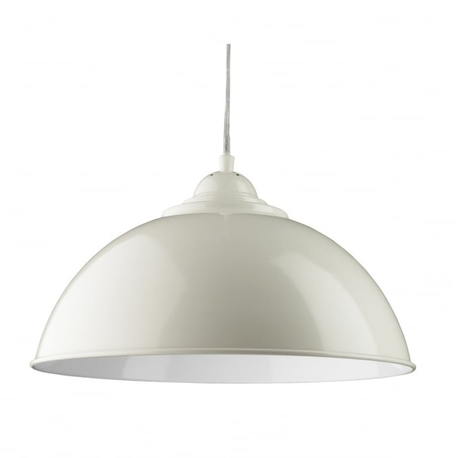 SANFORD single cream dome pendant with white inner