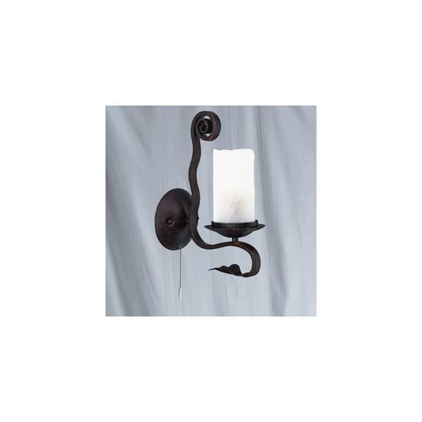 Rustic Brown Wall Lights : Rustic Brown Wall Light with White Crackle Glass Shade
