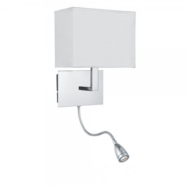 Low Energy Over Bed Chrome Wall Light with LED Flexible Reading Arm