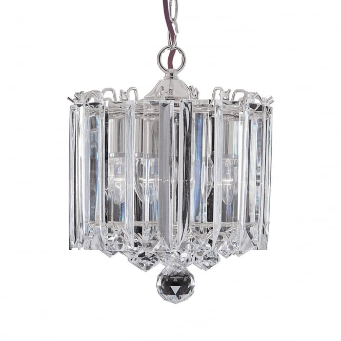 Lighting Catalogue SIGMA 3 light chrome and crystal glass ceiling pendant