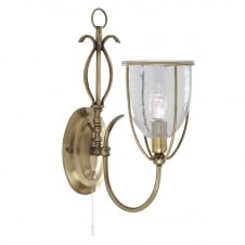 traditional ornate antique brass wall light with glass shade