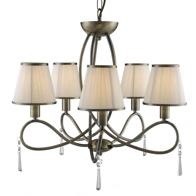 SIMPLICITY 5 light antique brass ceiling light with white shades