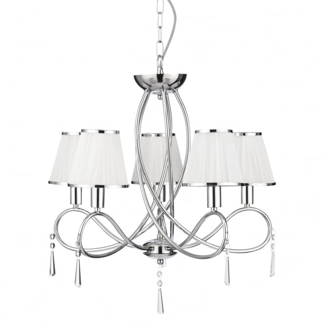 Lighting Catalogue SIMPLICITY 5 light chrome ceiling light with white shades