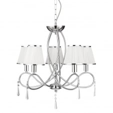 5 light polished chrome ceiling pendant with white shades