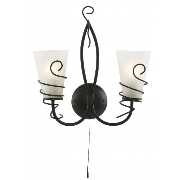 Rustic Brown Wall Light with Scavo Glass Shades