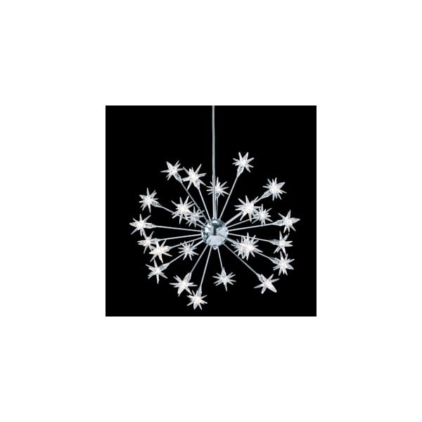 Starburst Modern Long Drop Ceiling Pendant With 24 Glass Stars