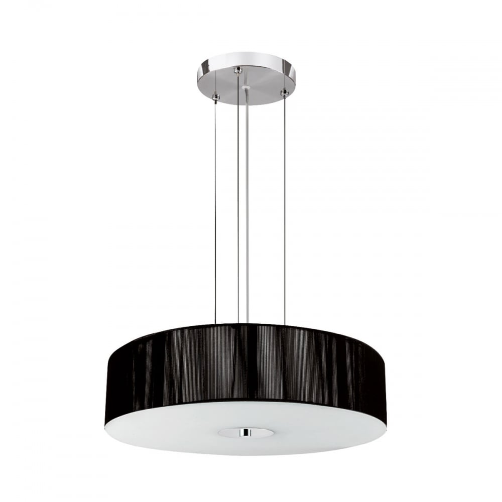 Pendant light shade diffuser : Modern light pendant and black string shade with opal