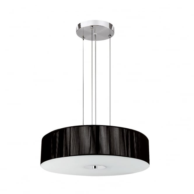 Lighting Catalogue STRING modern 3 light pendant with black string shade & opal diffuser
