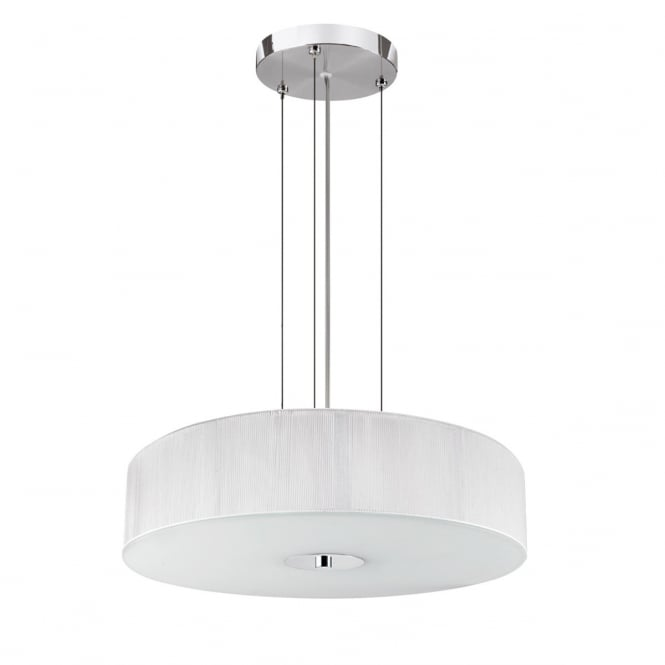 Lighting Catalogue STRING modern 3 light pendant with white string shade & opal diffuser