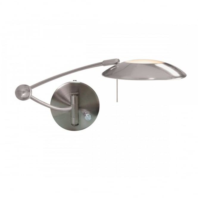 SWING ARM WALL LIGHT in satin silver