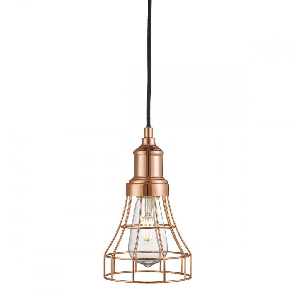 Ceiling Lights In Copper : Industrial cage style copper ceiling pendant light