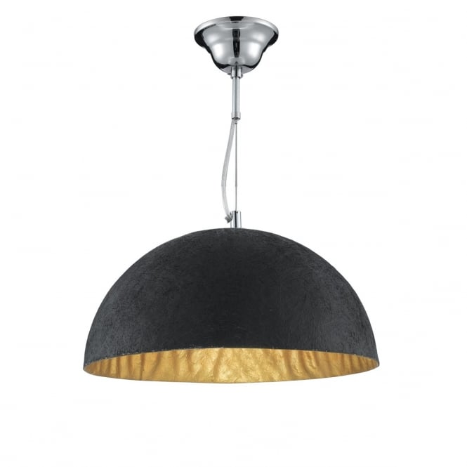 Lighting Catalogue TEXTURED black dome ceiling pendant with gold inner