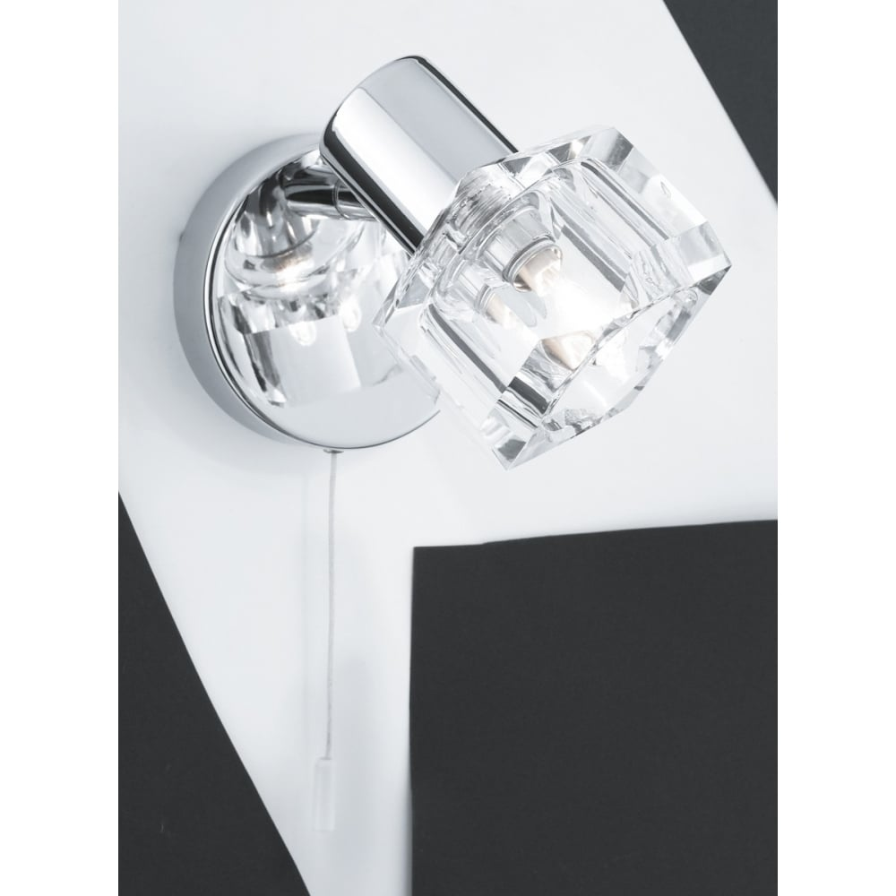 Bedroom Wall Lights With Pull Cord Part - 32: Polished Chrome Wall Light With Clear Glass Cube Shade