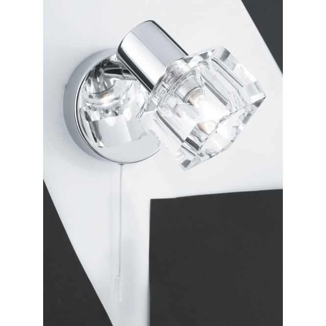 Lighting Catalogue TRITON single chrome and clear glass wall light with pull cord
