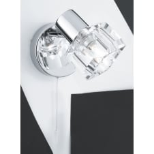 polished chrome wall light with clear glass cube shade