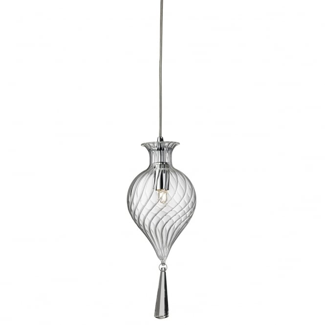 Lighting Catalogue TWIRLS chrome ceiling pendant with clear bauble glass shade