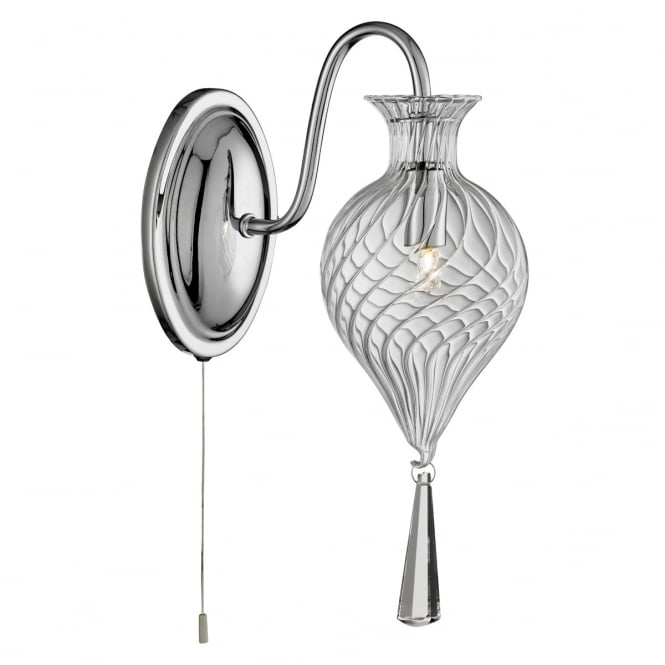 Lighting Catalogue TWIRLS chrome single wall light with clear bauble glass shade