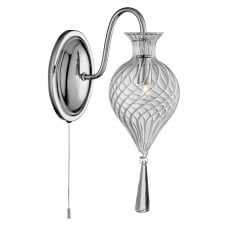 TWIRLS chrome single wall light with clear bauble glass shade