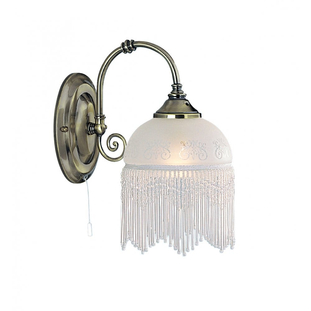Victoriana antique brass wall light with beaded glass shade - Appliques murales retro ...