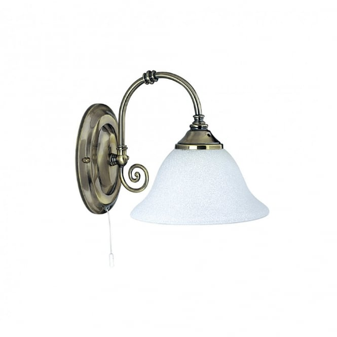 Lighting Catalogue VIRGINIA antique brass wall light & Scavo glass shade