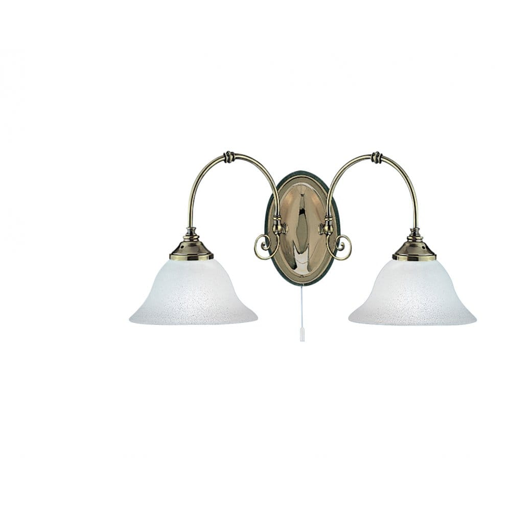 Double Twin Wall Light Antique Brass Victorian Style Scavo Glass Shades