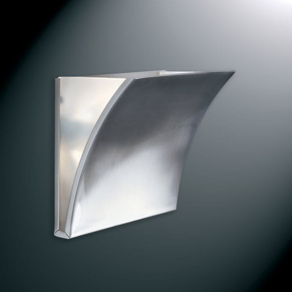 Wall Light Glass Panel : Curved Satin Silver Wall Panel Light