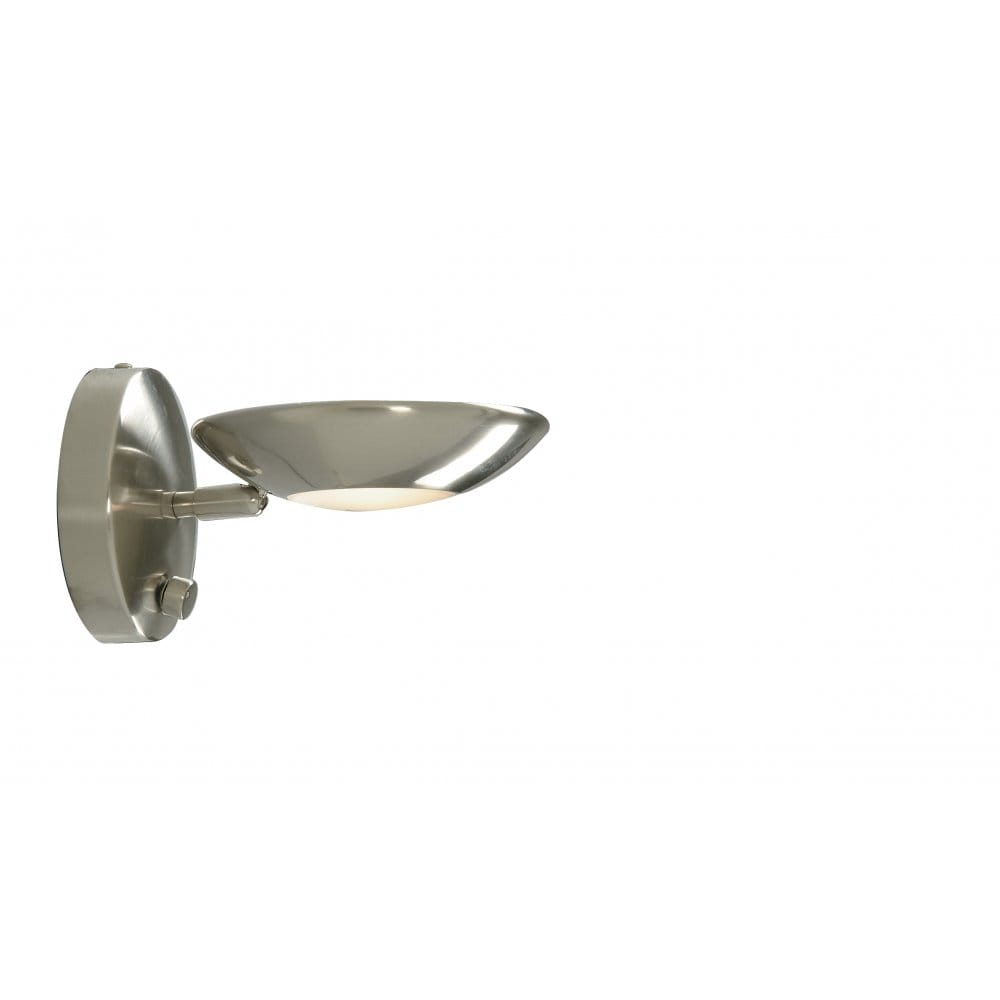 Wall Light Swivel Head satin Silver integrated Dimmer.