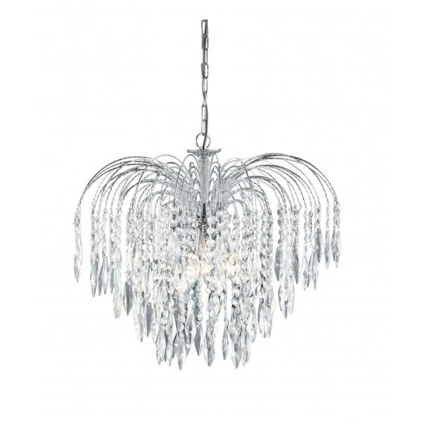 Waterfall Chrome And Crystal Cascading Chandelier On A Chain