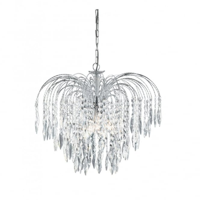 Lighting Catalogue WATERFALL chrome & crystal cascading chandelier