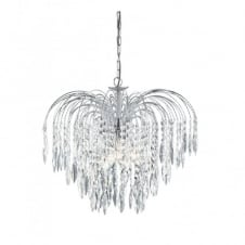 WATERFALL chrome & crystal cascading chandelier