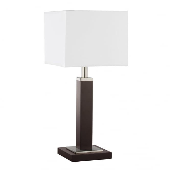 WAVERLEY light brown and satin silver table lamp with shade
