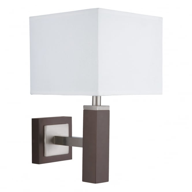 Lighting Catalogue WAVERLEY light brown and satin silver wall light with shade