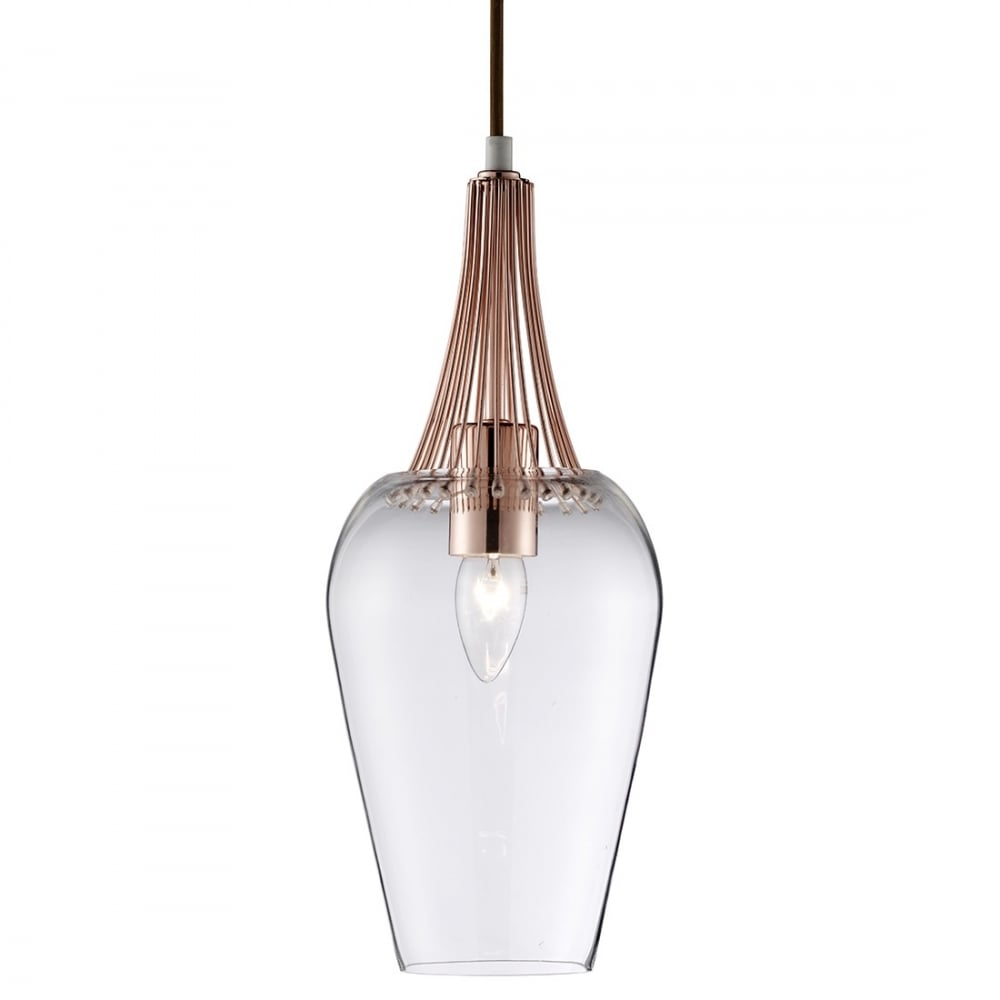 Contemporary Copper Ceiling Pendant With Clear Glass Shade