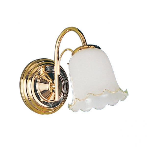 York Traditional Brass Gold Wall Light With Fluted Glass Shade