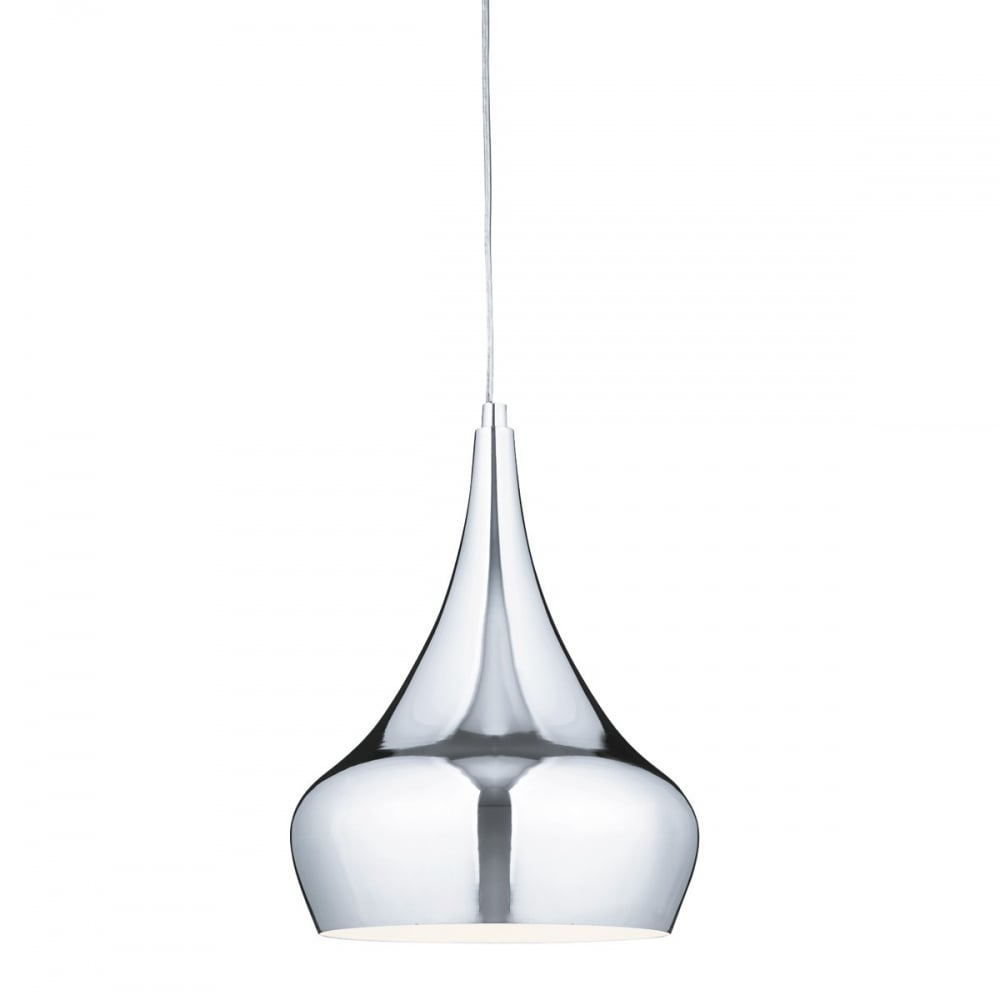 Modern Polished Chrome Ceiling Pendant With Bulbous Curved Shade