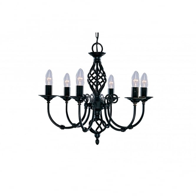 ZANZIBAR black wrought iron 6 light ceiling pendant