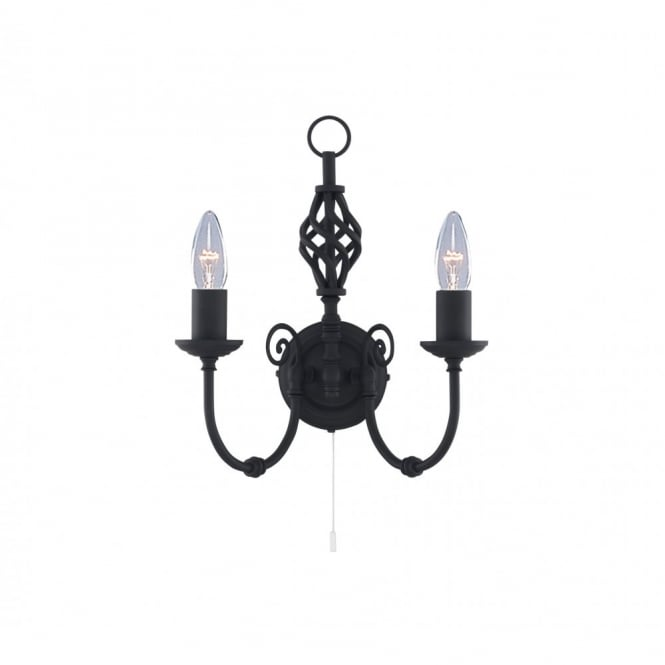 Lighting Catalogue ZANZIBAR black wrought iron double wall light